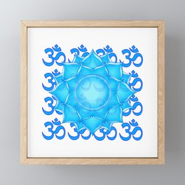 Blue Glass Lotus Flower Drawing With Om Pattern Framed Mini Art Print