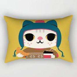 Holiday - Cat in a Sweater / Mustard Yellow Rectangular Pillow