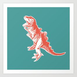 Dino Pop Art - T-Rex - Teal & Dark Orange Art Print