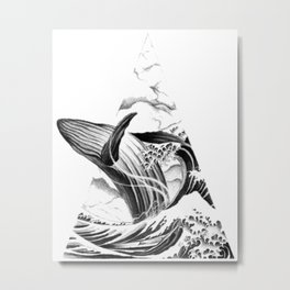 Whales, whale, graphic tattoo, pencil drawing Metal Print