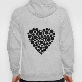 Simple black and white pattern  .heart black polka black polka dots . Hoody