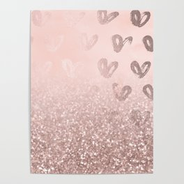 Rose Gold Sparkles on Pretty Blush Pink with Hearts Poster