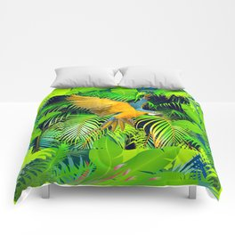 BLUE & GOLD MACAW JUNGLE  ART DESIGN Comforters