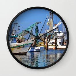 Galveston Fishing Boats Wall Clock