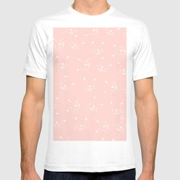 Cute girly hand drawn abstract cat face on pastel pink T-shirt