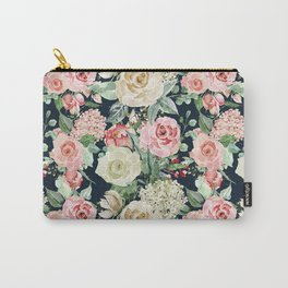 Country chic navy blue pink ivory watercolor floral Carry-All Pouch