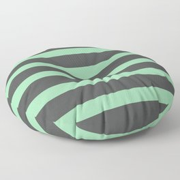 Pastel Green Stripes on Gray Background Floor Pillow
