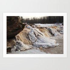 Wintry Bonanza Falls  Art Print