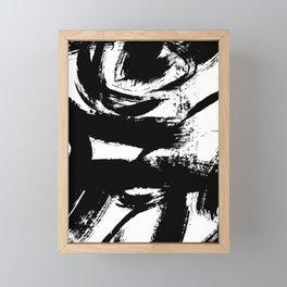 Black and White Brush Strokes Framed Mini Art Print