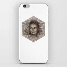 Audrey Hepburn dot work portrait iPhone & iPod Skin