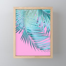 Palm Leaves Pink Blue Vibes #1 #tropical #decor #art #society6 Framed Mini Art Print