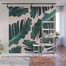 Tropical Blush Banana Leaves Dream #1 #decor #art #society6 Wall Mural