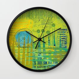 Blue Green Abstract Art Collage Wall Clock