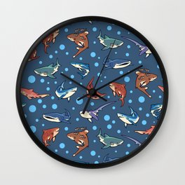 Sharks in the dark blue Wall Clock