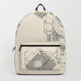 Original technical drawing, italian motorcycle engine, retro garage sign, vintage mechanic Backpack