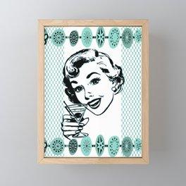 Mid-Century Modern Art Cocktail Teal Framed Mini Art Print