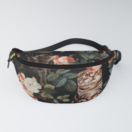 Cat and Floral Pattern II Fanny Pack