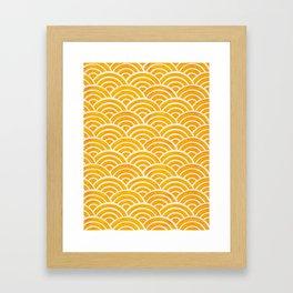 Japanese Seigaiha Wave – Marigold Palette Framed Art Print