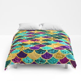 Glitter Purple, Aqua and Gold Mermaid Scales Pattern Comforters