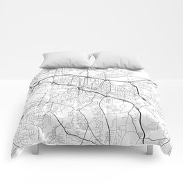 Durham Map, USA - Black and White Comforters