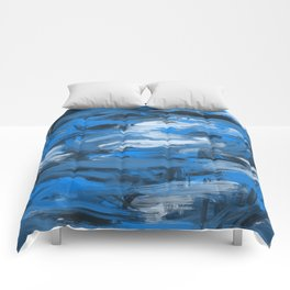 Blue & White Abstract Comforters