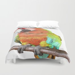 Vector Style Harlequin Macaw On A Perch Duvet Cover