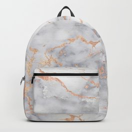 Gray Marble Rosegold  Glitter Pink Metallic Foil Style Backpack