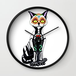 Sugar Skull Kitty Cat Wall Clock