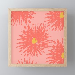 Summer Abstract Floral Coral Fresh Flowers Framed Mini Art Print