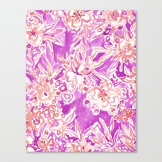 TROPICAL FLAIR Pink Watercolor Floral Canvas Print