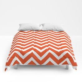 red, white zig zag pattern design Comforters