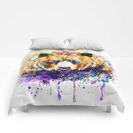 Colorful Grizzly Bear Comforters