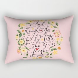 And though she be but little she is fierce (Floral MK BlackText) Rectangular Pillow