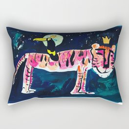 Toucan and Tiger in the Night Sky Painting Rectangular Pillow