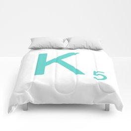 Custom Scrabble Wall Art Blue Letter K Comforters