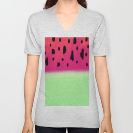 Modern abstract watermelon brushstrokes watercolor Unisex V-Neck