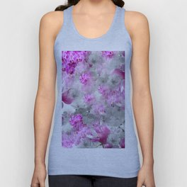 CHERRY BLOSSOMS ORCHIDS AND MAGNOLIA IMPRESSIONS IN PINK GRAY AND WHITE Unisex Tank Top