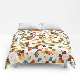 Waiting for Fall - Random Pixel Pattern in Green, Orange and Yellow Comforters