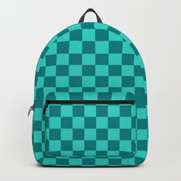 Teal and Turquoise Checkerboard Backpack