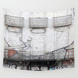 The facade's face, graffiti Wall Tapestry