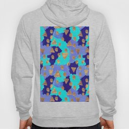 Friday Afternoon - Modern Free Style Abstract Pattern - Navy, Teal & Gold Hoody