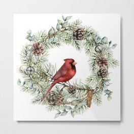 Art Watercolor, Red Cardinal and Christmas Wreath, Floral Prints Metal Print
