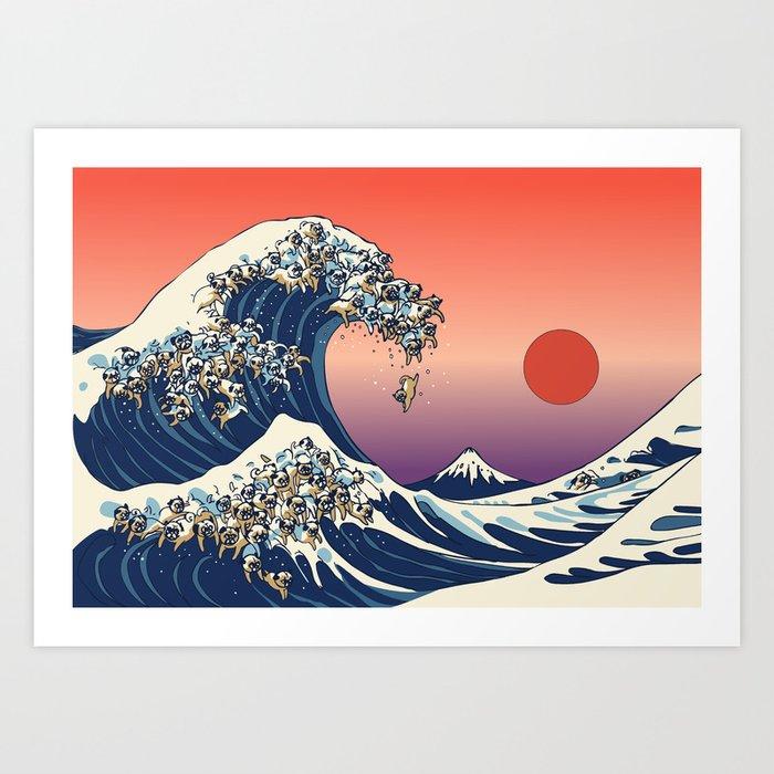The Great Wave of Pug Kunstdrucke