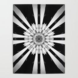 Bold Black and White Stripe Modern Star Design Poster