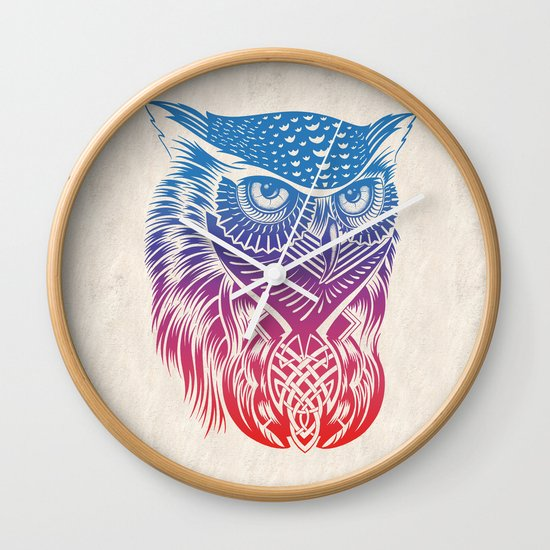 Owl of Color Wall Clock