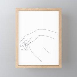 Hand on knee black and white illustration - Ana Framed Mini Art Print