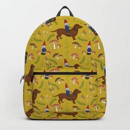 Gnome and Dachshund in Mushroom Land, Mustard Yellow Backpack