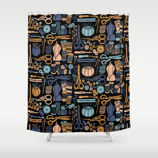 Sewing Notions Block Print Shower Curtain