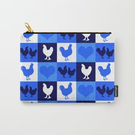 Blue and White American Chickens Gingham Carry-All Pouch