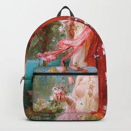 At The Flower Garden - Hans Zatzka Backpack